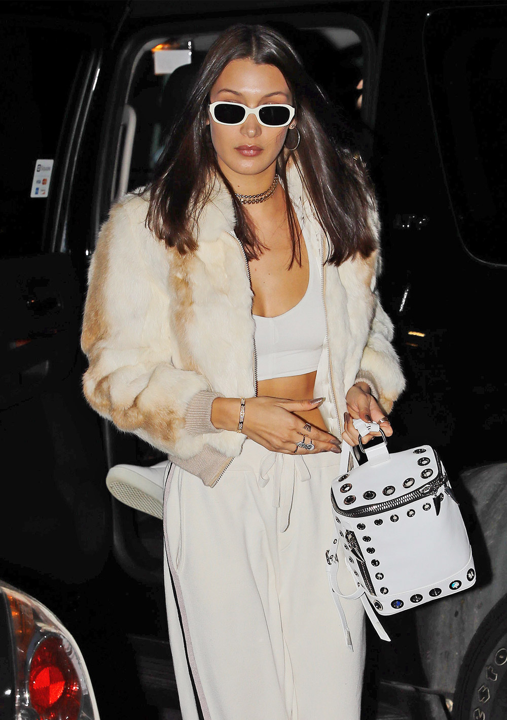 Bella Hadid cosy coats outfit