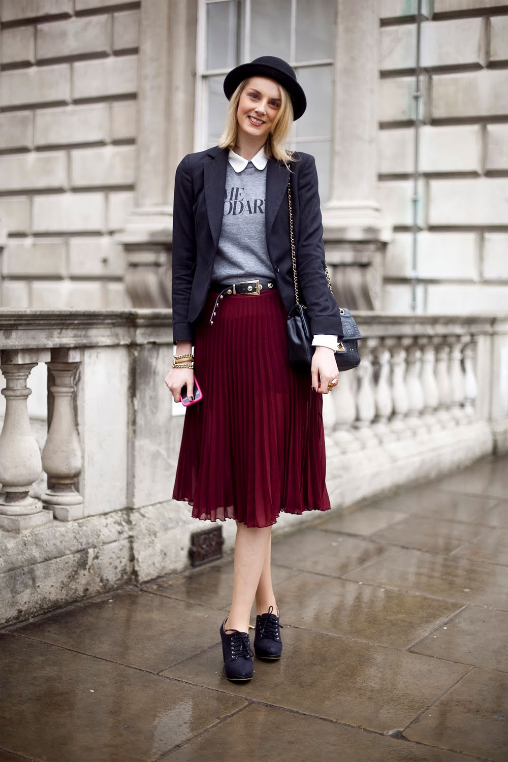 Pleated skirt outfit