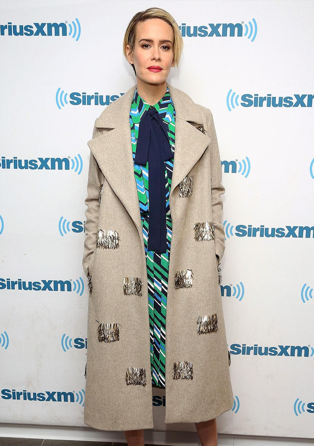 Sarah Paulson cosy coats outfit