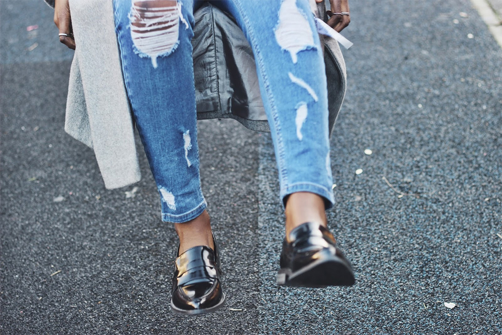 skinny ripped jeans and loafer