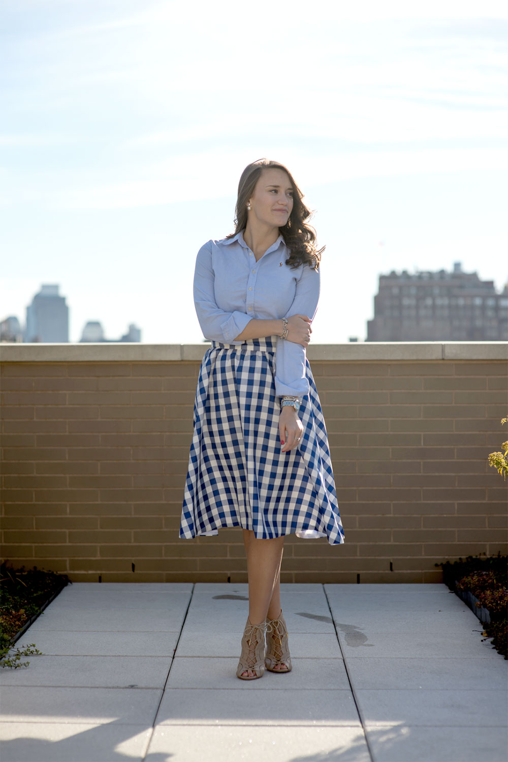 gingham skirt daily outfit