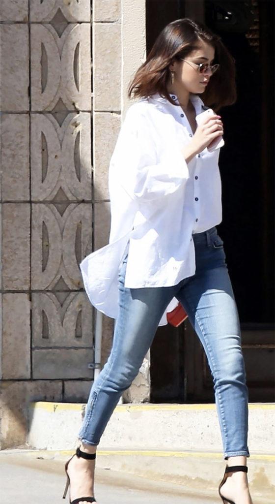 selena gomez oversize shirt outfit