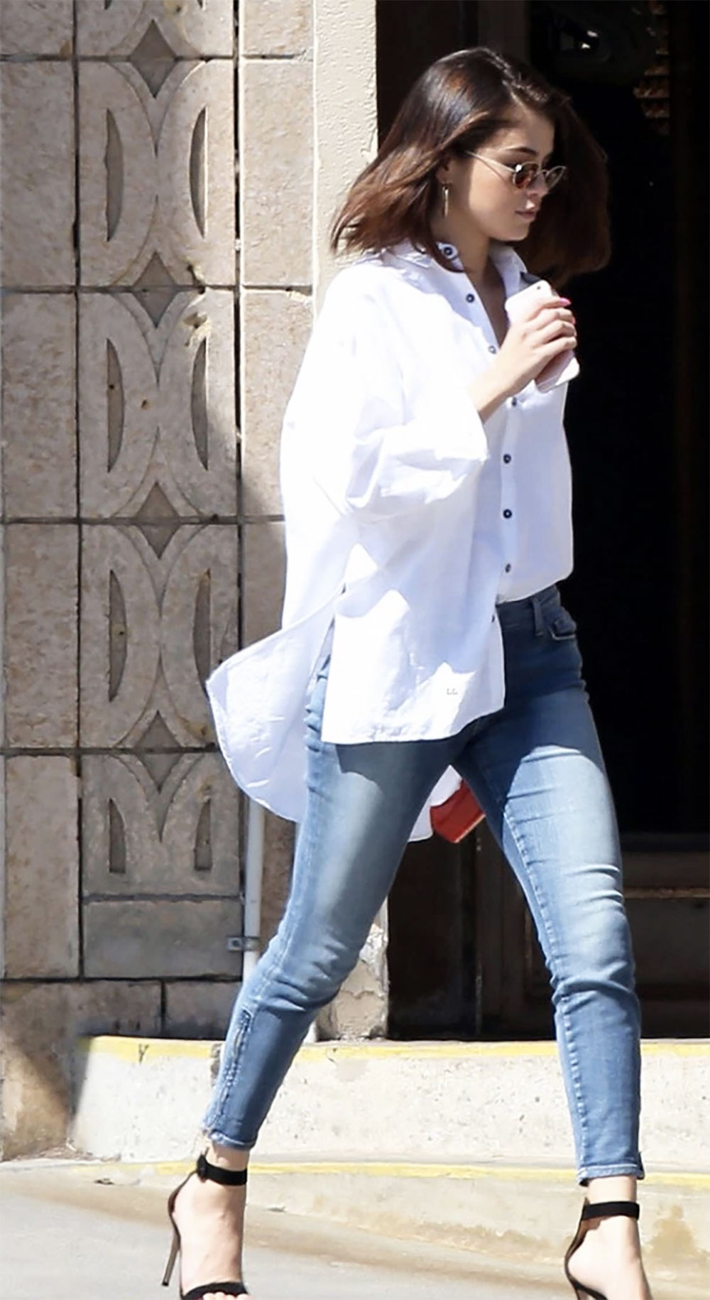 selena gomez oversize shirt outfit