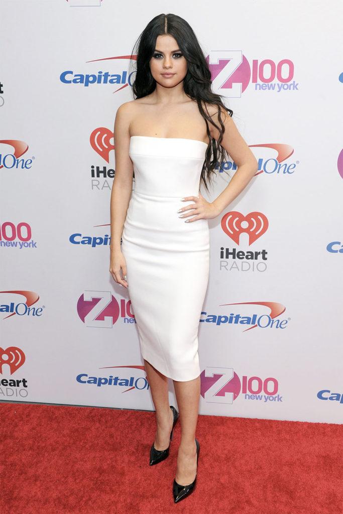 selena gomez white dress