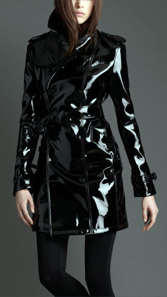 shiny leather trench