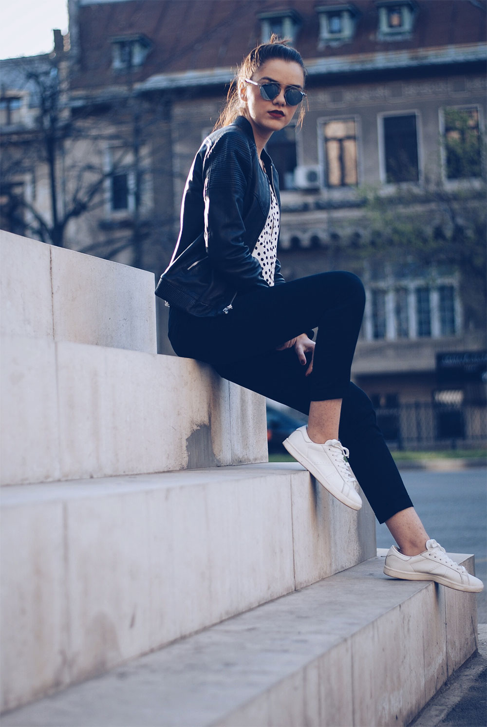 white sneakers leather jacket
