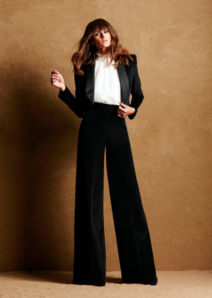 wide leg tuxedo trousers