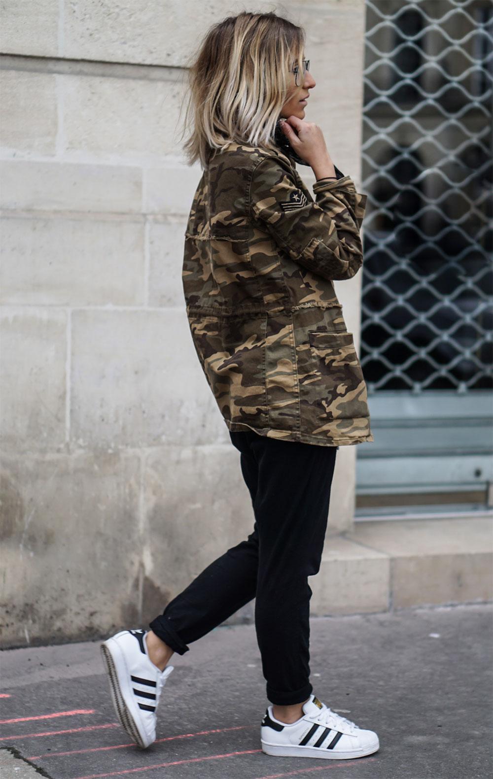 military jacket sneakers