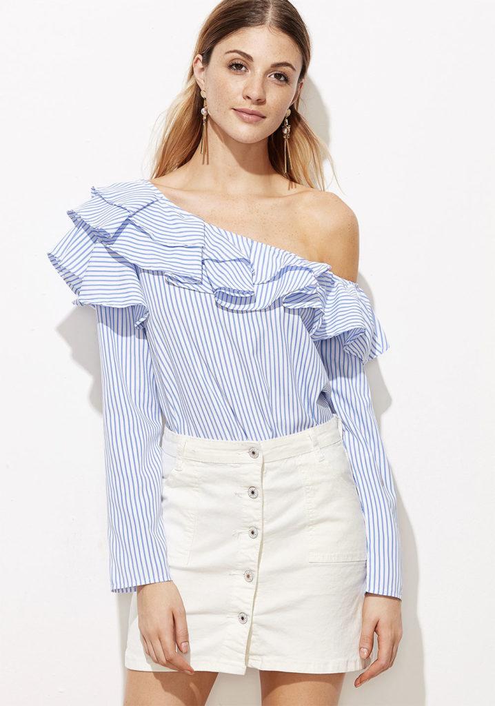 one shoulder striped shirt