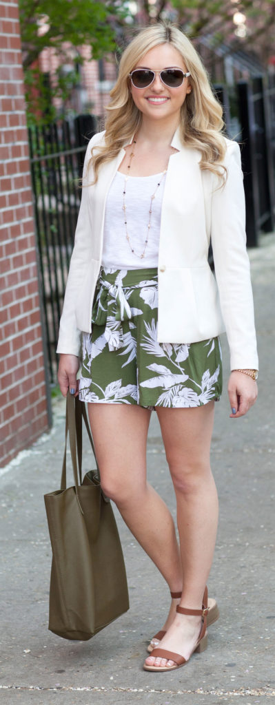 printed shorts white blazer
