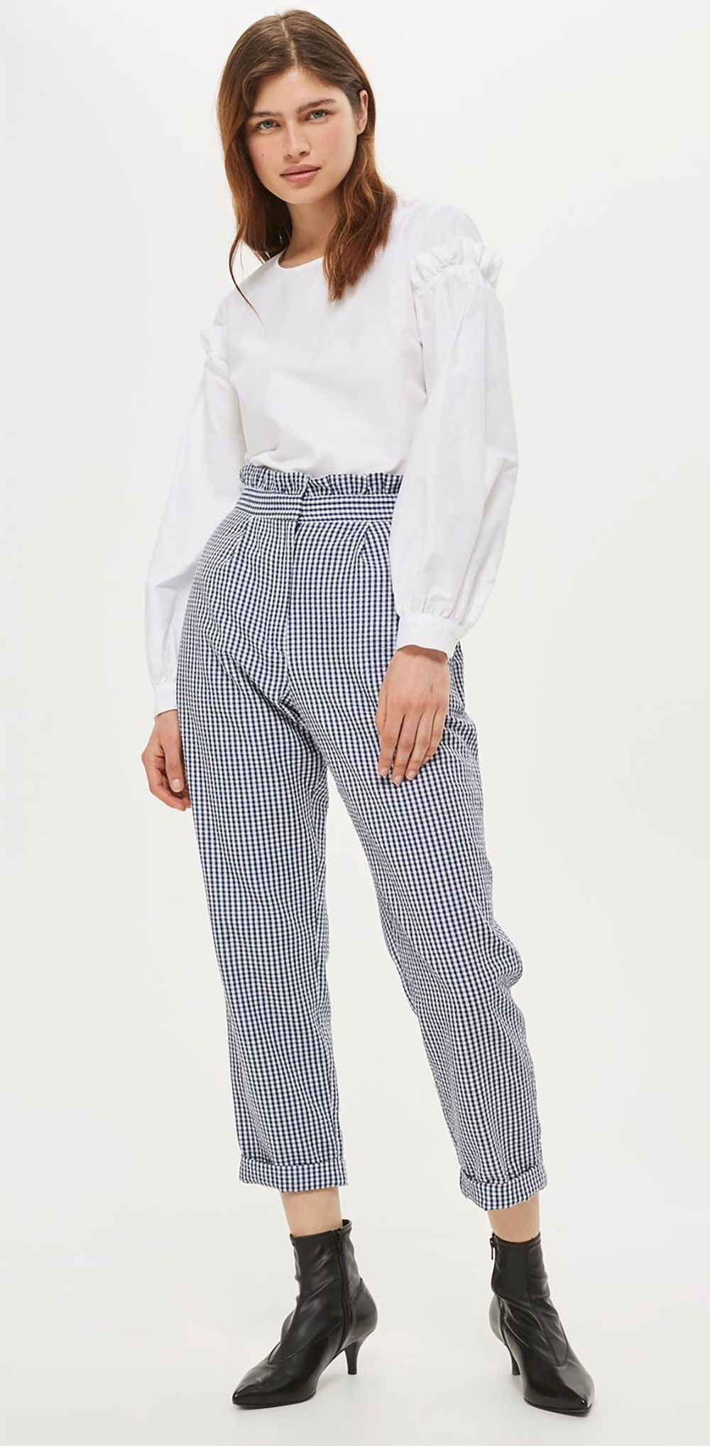 ruffle waist trouser gingham