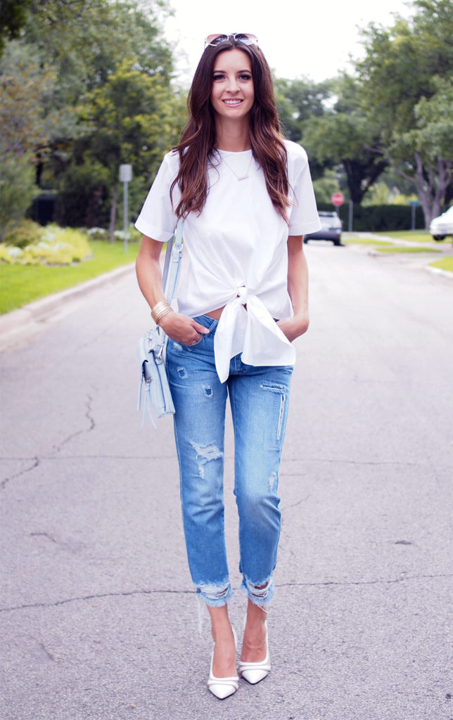 tie front white top