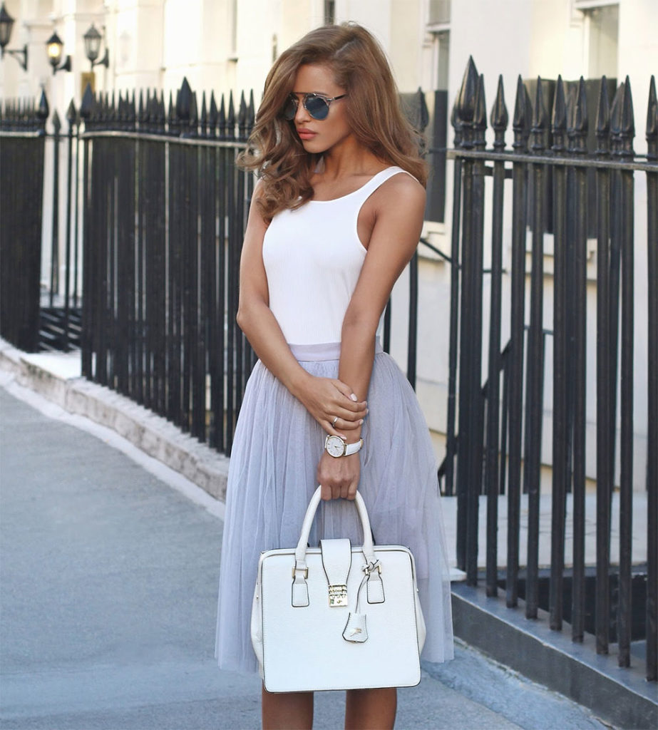 white bodysuit tulle skirt