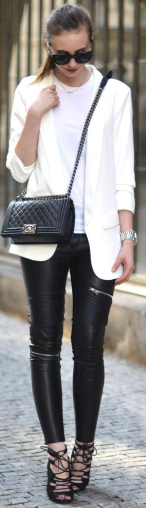 black leather white blazer