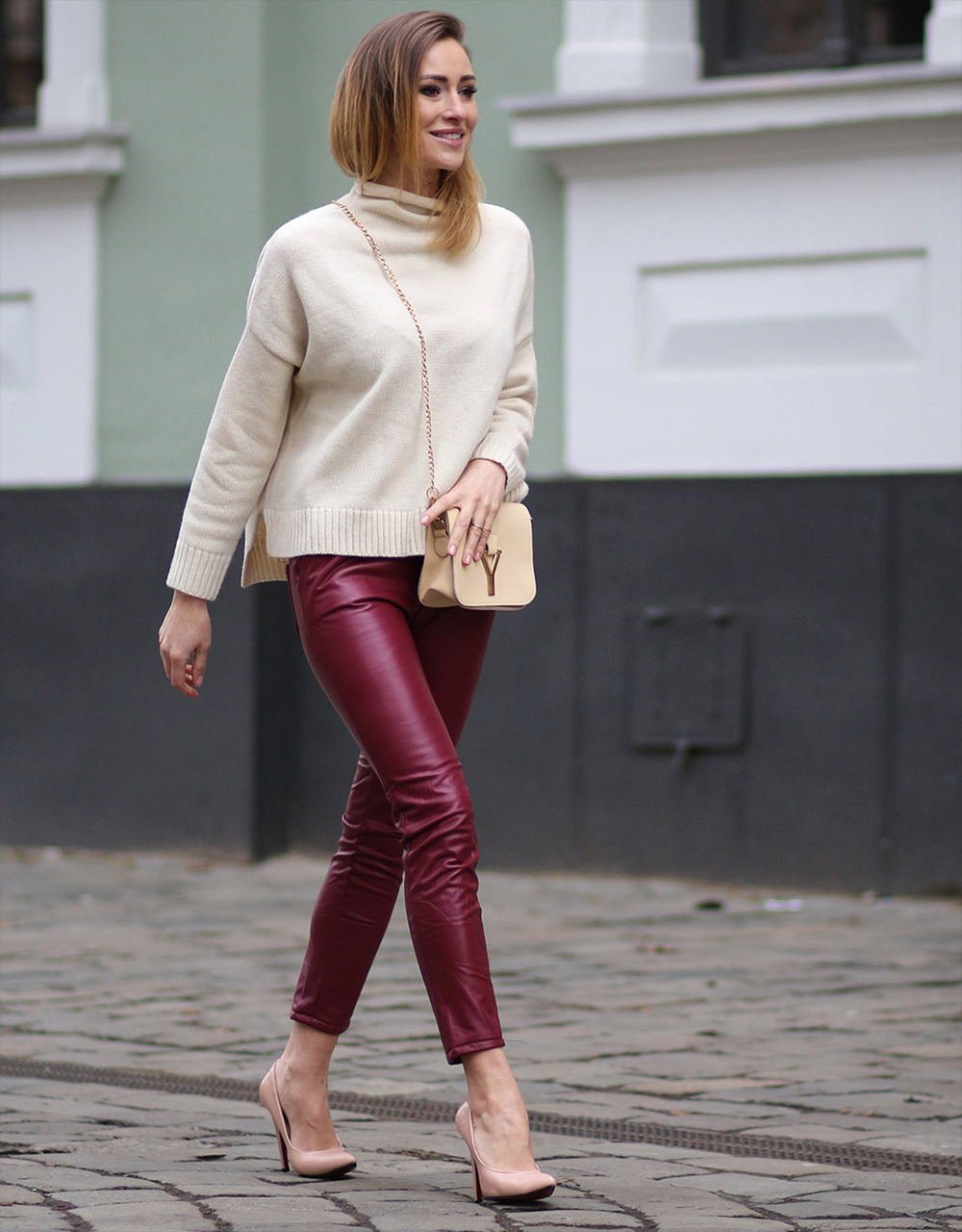 burgundy leather trousers