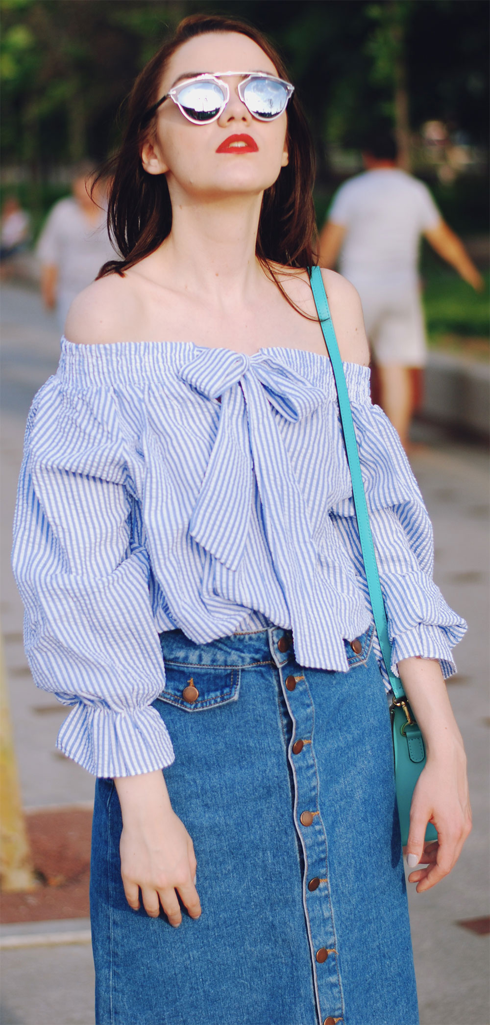 denim skirt striped off the shoulder top