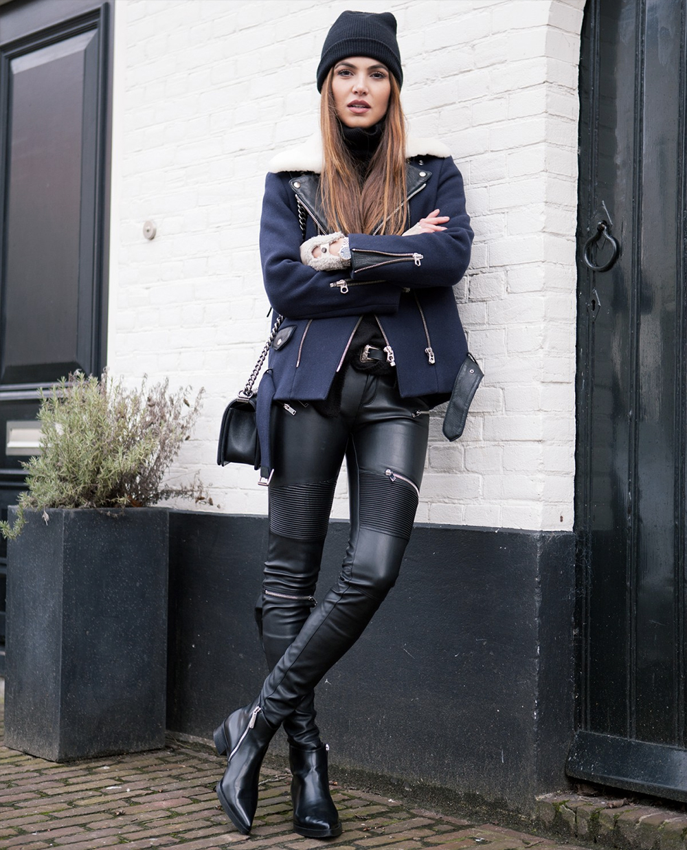 leather trousers turtleneck