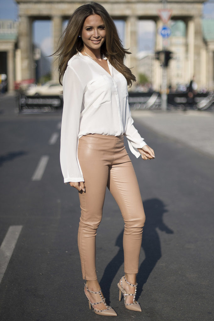 leather trousers white shirt