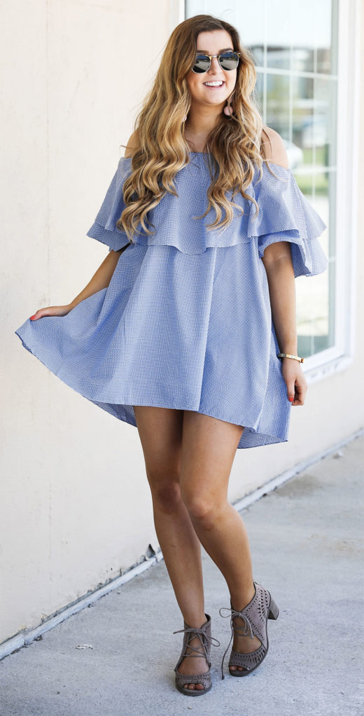 off the shoulder mini dress