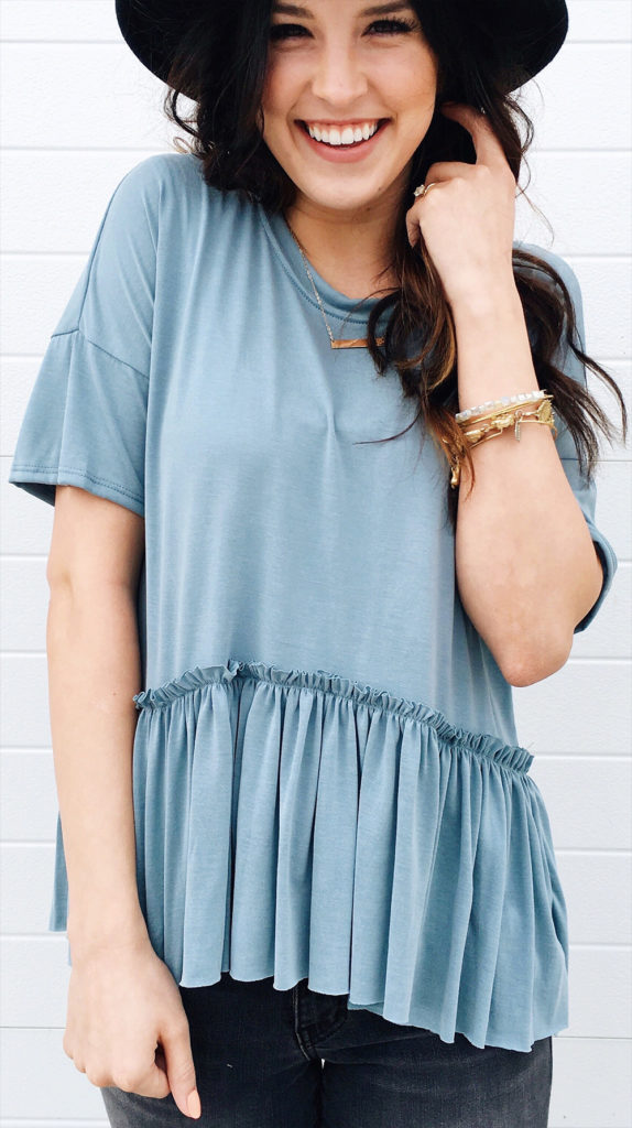 ruffled top jeans