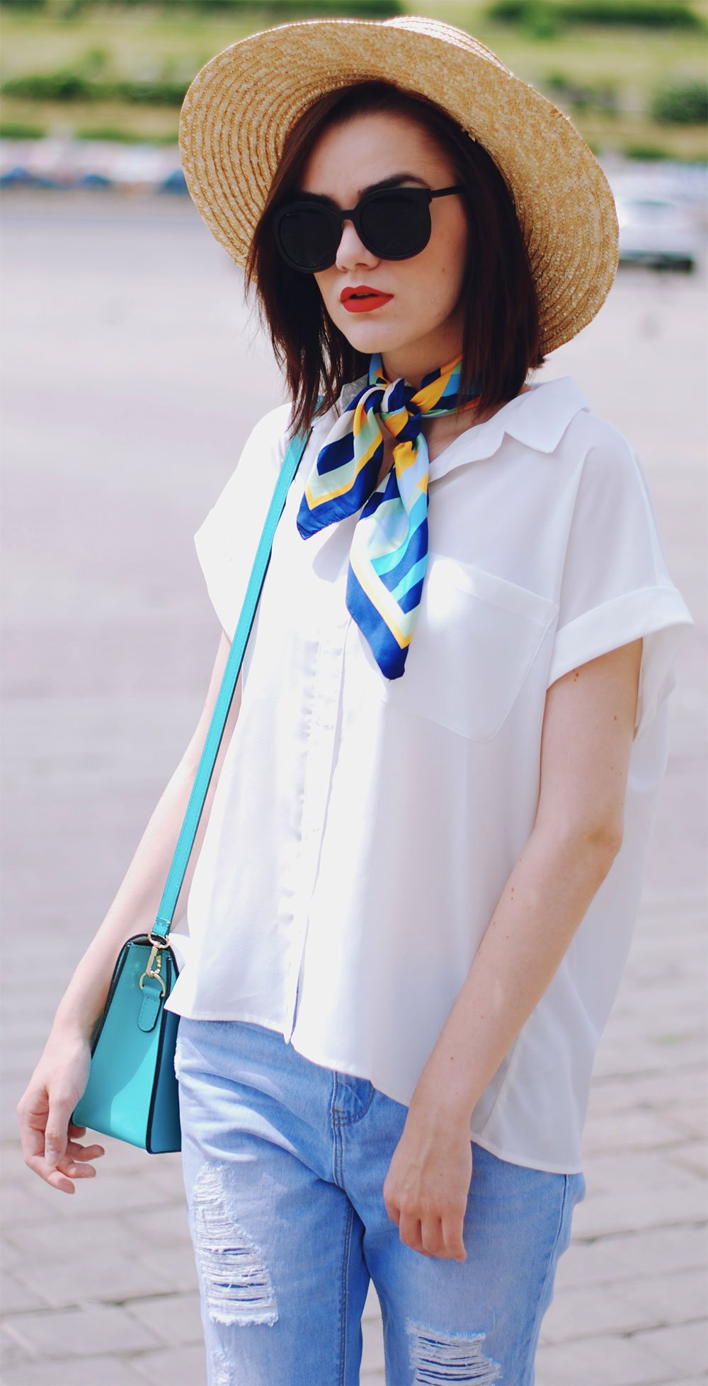 silk scarf outfit