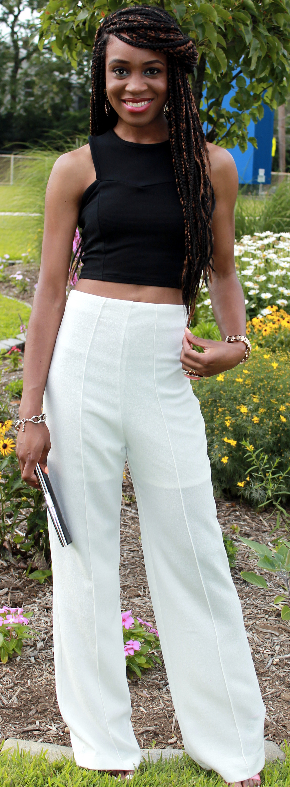 white trousers crop top