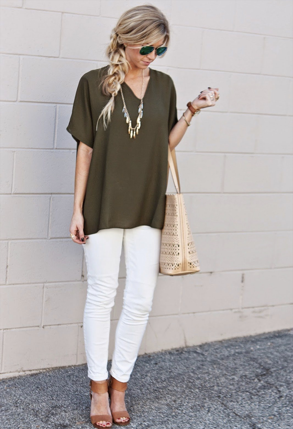 white trousers olive top
