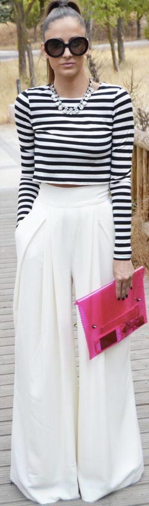 wide leg white trousers