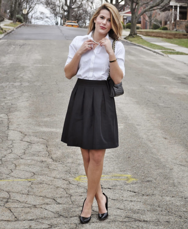 black white office outfit