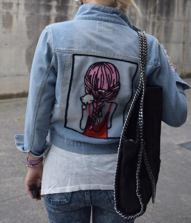 cat denim jacket outfit