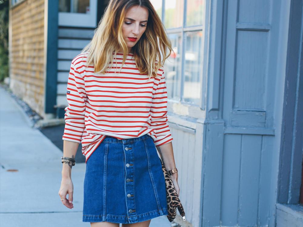 denim skirt outfit ideas
