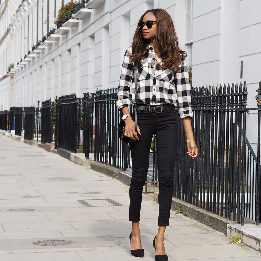 gingham-shirt outfit