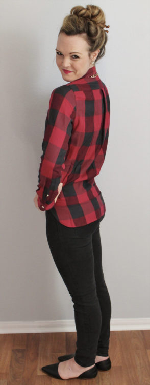 red gingham shirt