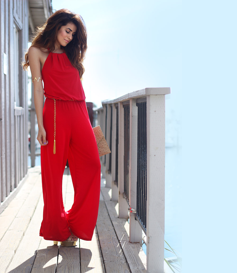 Red jumpsuit outfit ideas