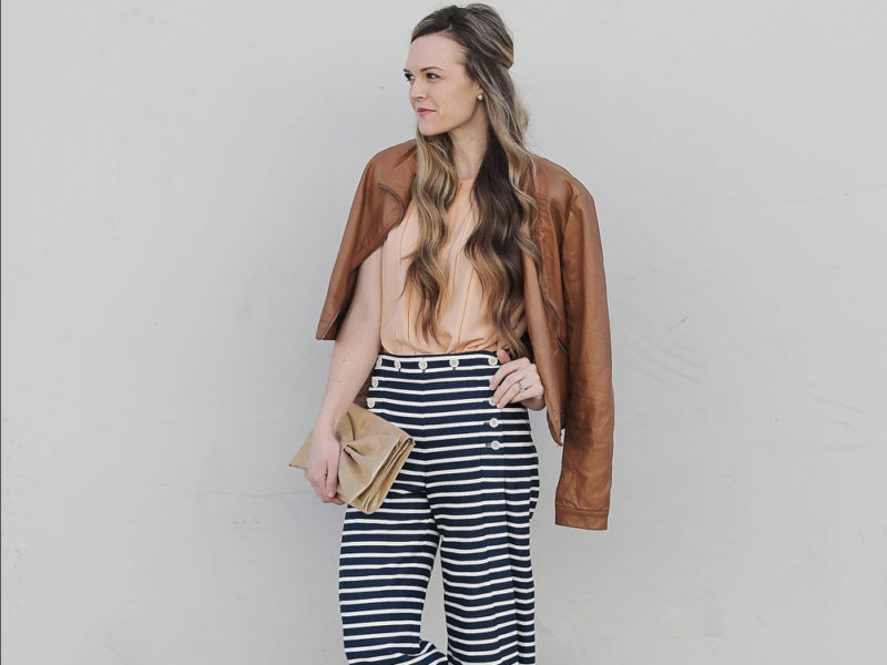 striped trousers outfit