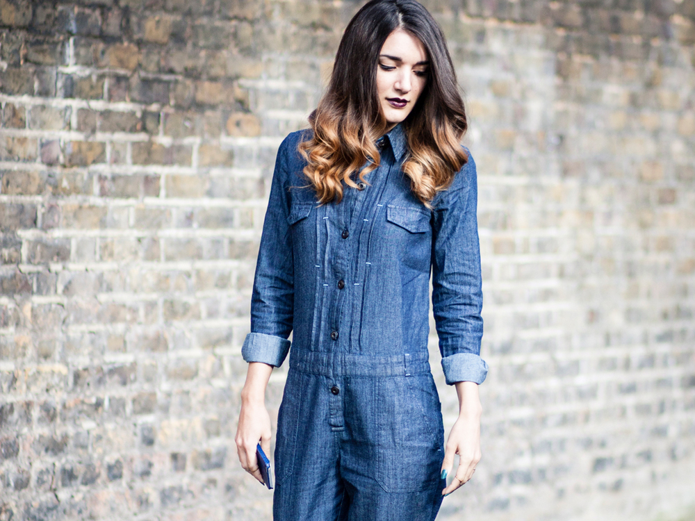 denim jumpsuit outfit