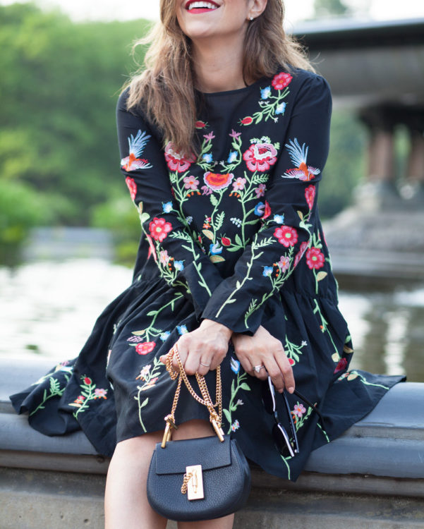 embroidery black dress