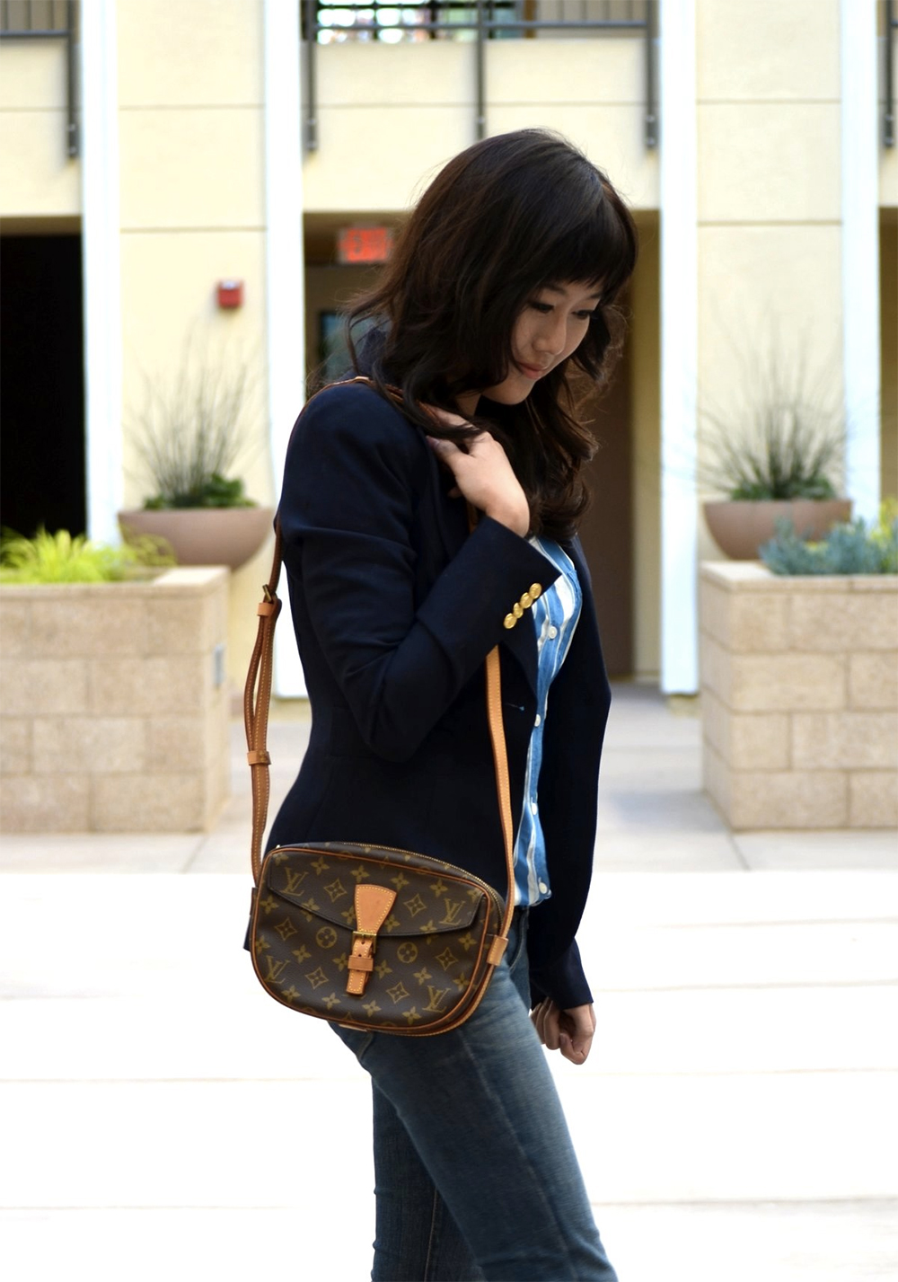 navy jacket outfit