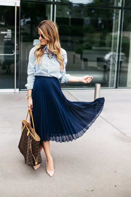 feminine blue skirt