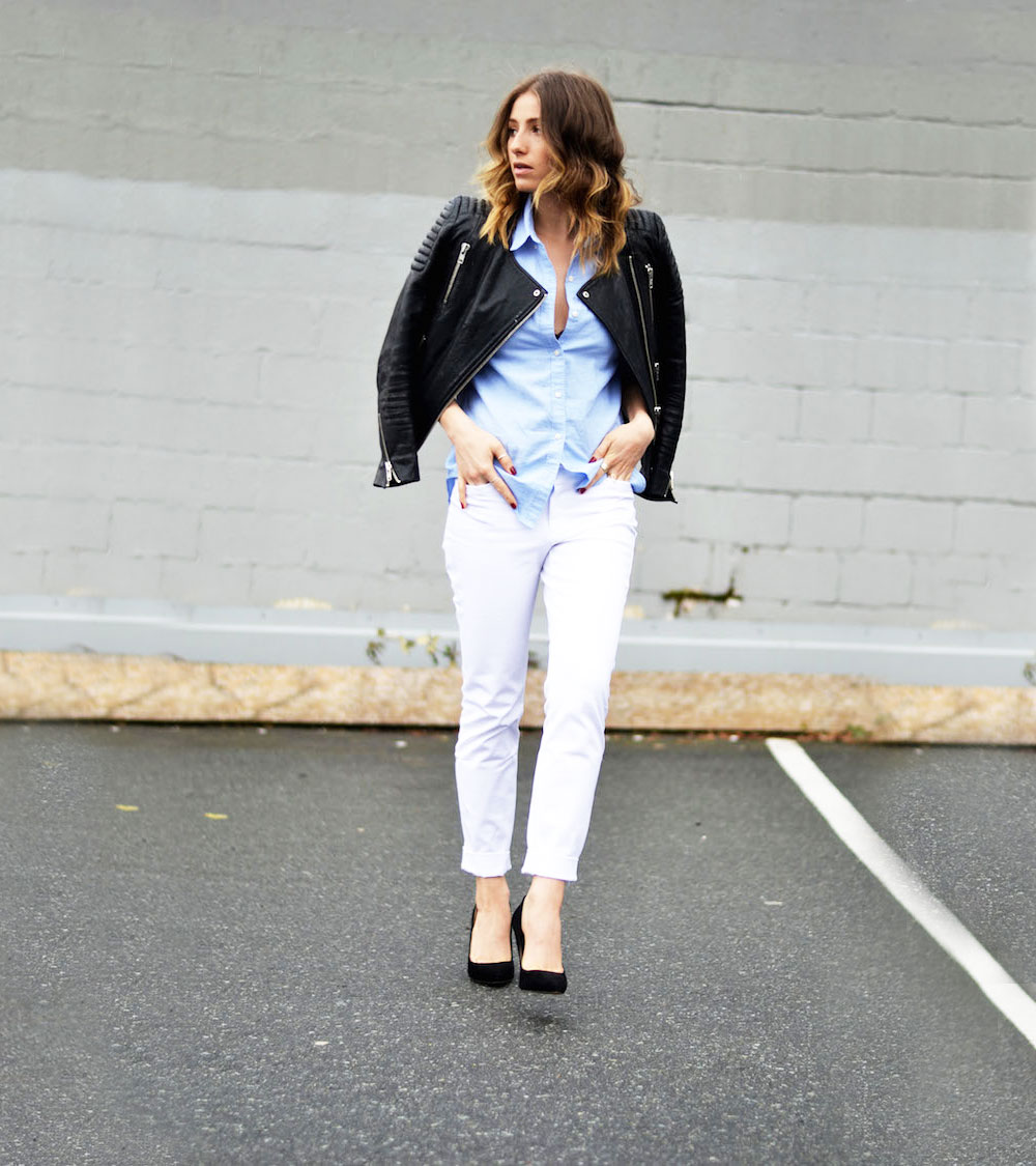 leather jacket white pant outfits