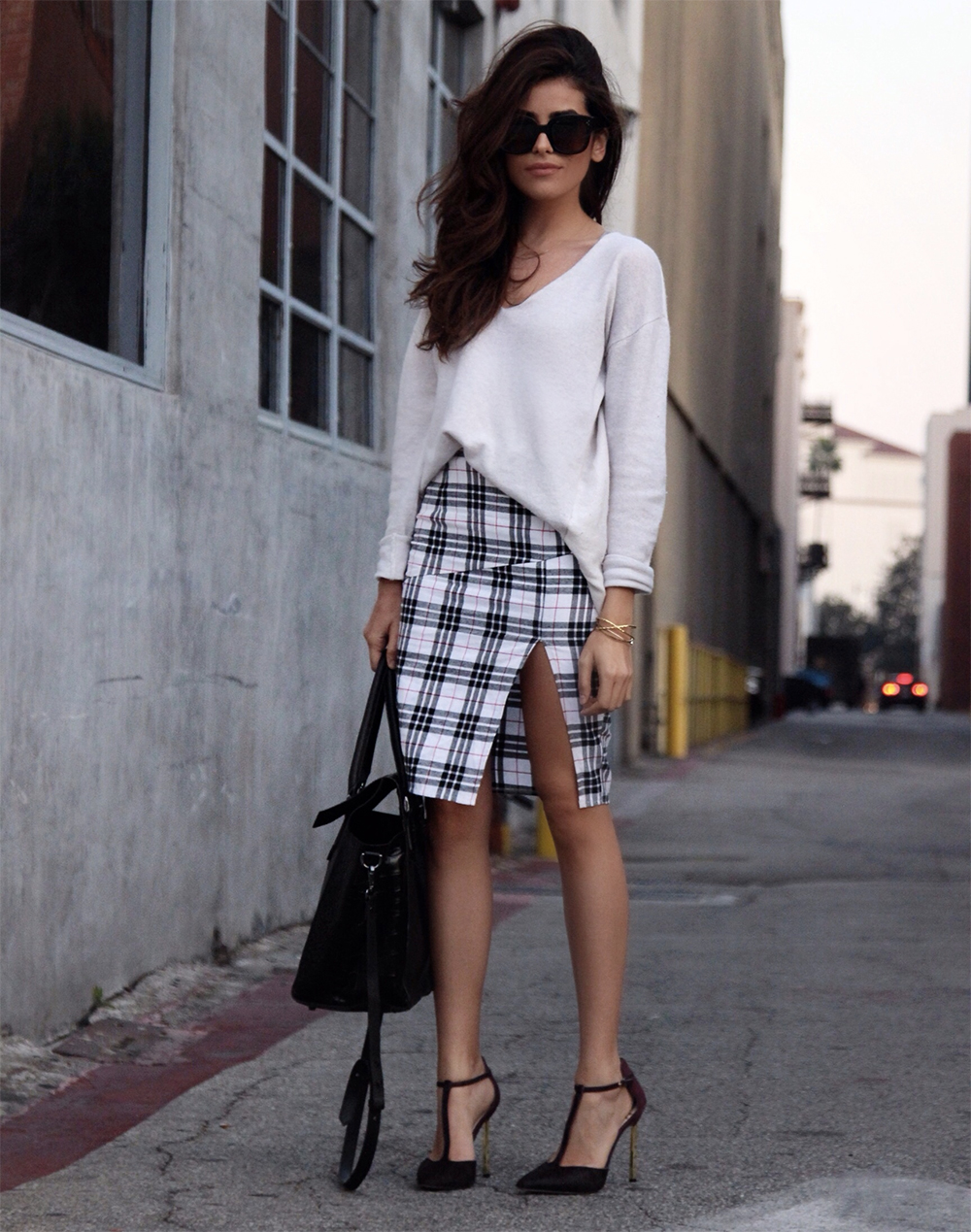 pencil tartan skirt
