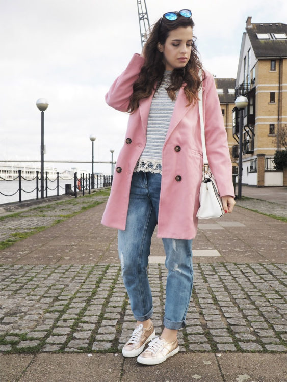 pink coat outfit