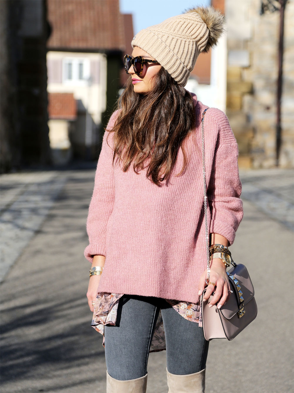 pink pullover outfit