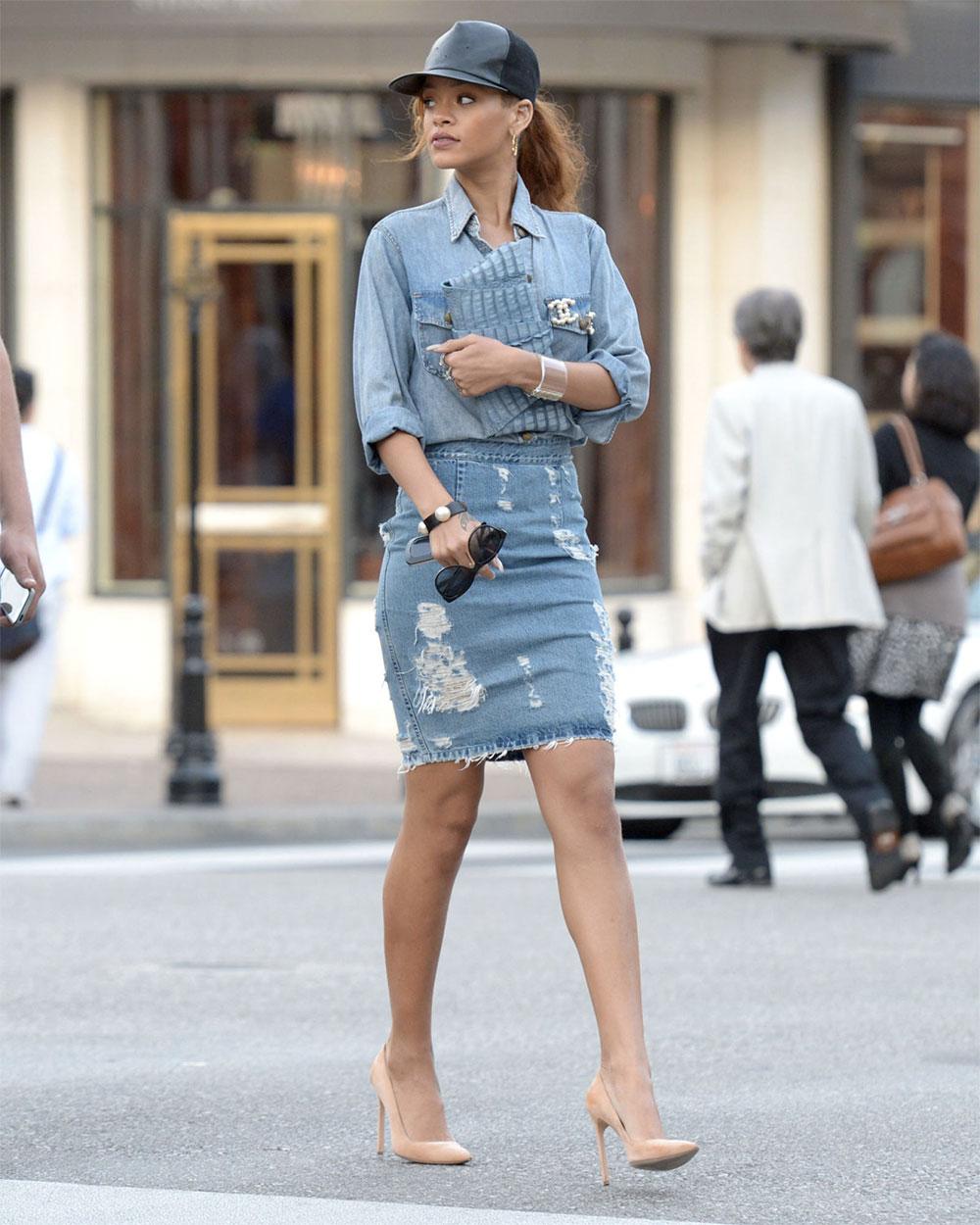 rihanna jean skirt