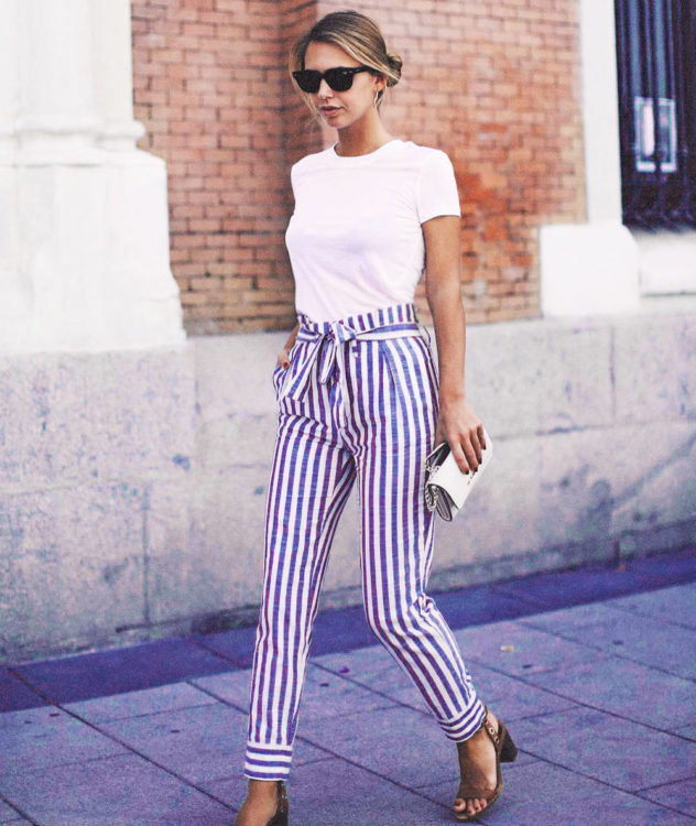 striped pants outfit ideas