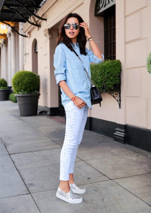 white denim metallic shoes outfits