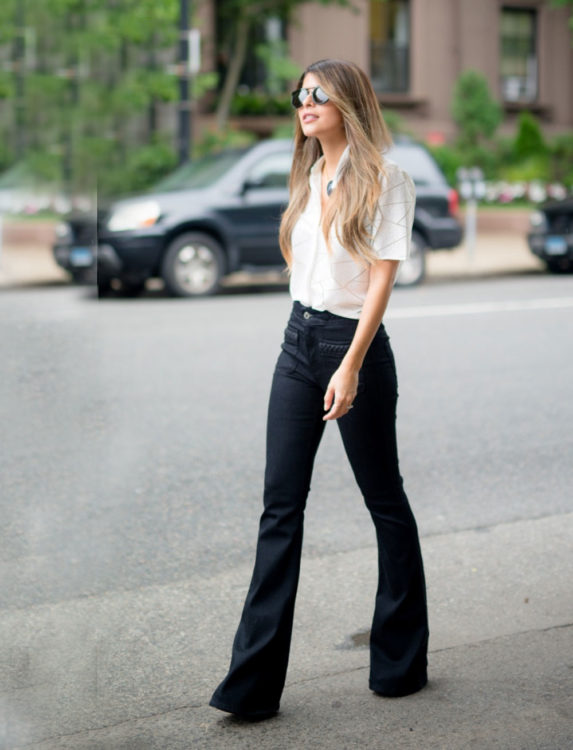 black flared jeans outfit