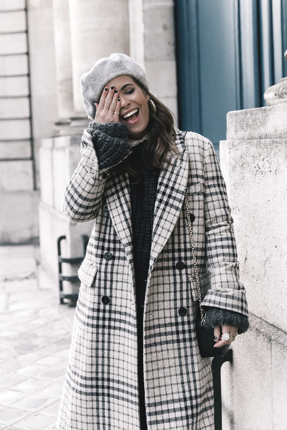 checked maxi coat