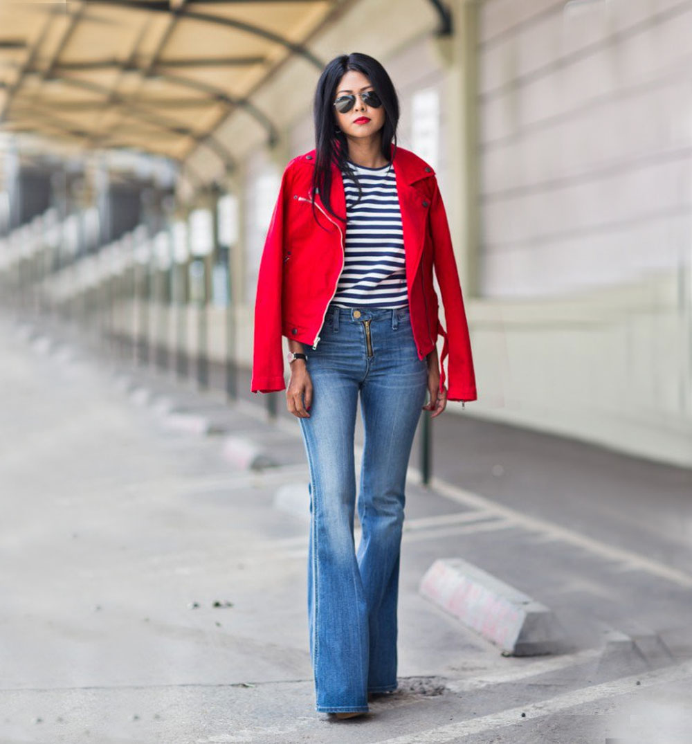 red jacket and flared jeans outfit