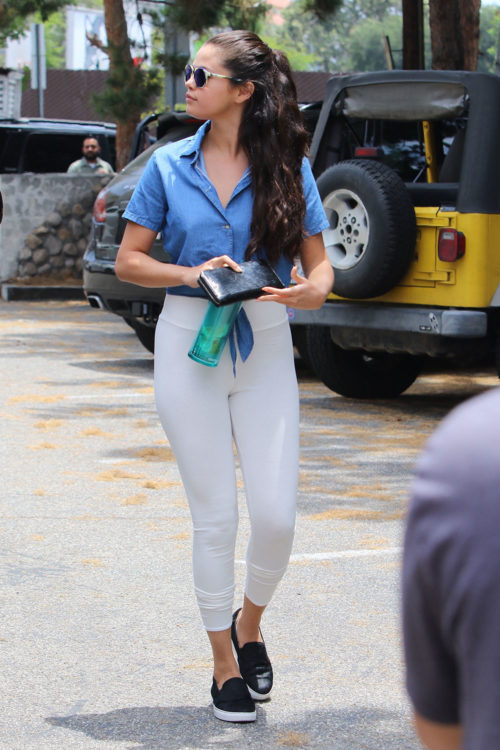 Selena Gomez White Leggings